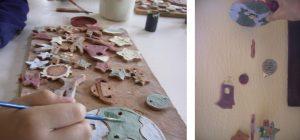 Pieza de decoración con montaje creada por niños